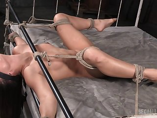 Merciless bondage session for a truly cute brunette called Sara Luvv