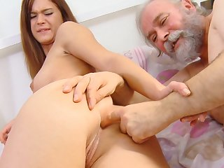 Sweet chick is sucking this old dick and swallowing juicy sperm from that hardcore pole