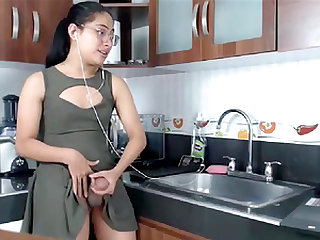 TS teen latina with Monster cock masturbates on the kitchen counter