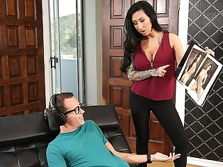 Lily Lane Catches Stepson Jerking Off To Her Nudes