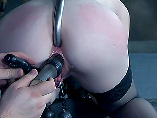 Blonde in a red dress Katy Kiss tortured with an anal hook